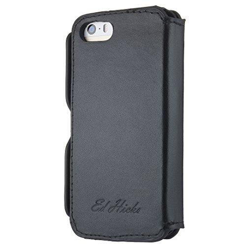 Schutzhülle Case + Tasche Echtes Leder Slim Hülle Brieftasche für das iPhone 6 6S - Risevon Ed Hicks - Geprägt Dunkelgrau Grau