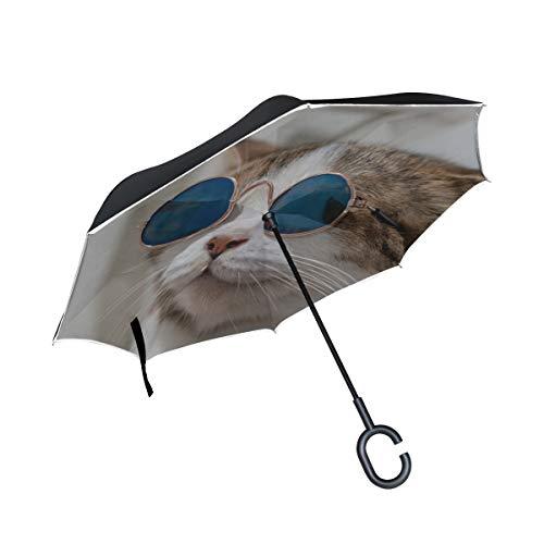 Kühle Katze Abnutzungs Brille Doppelschicht die Anti Uv Schutz wasserdicht winddichtes gerades Auto Golf umgekehrter umgekippter Regenschirm Stand mit C förmigem Griff für den Auto Regen im Freien