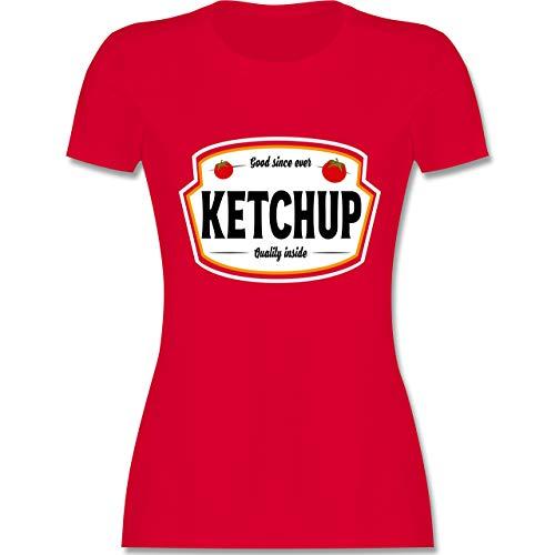 Karneval & Fasching - Ketchup Kostüm Karneval Fasching - S - Rot - L191 - Damen Tshirt und Frauen - Tomaten Ketchup Kostüm