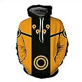 XYL HOME Hoodie,Unisex Hoodie 3D Print Naruto Serie Kordelzug Pullover Große Tasche, XL