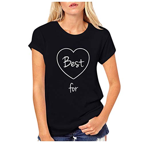 yazidan Beste Freunde T-Shirts für Mädchen und Damen Best Friends Forever Liebe Grafiken Gedruckt Sommer Shirt Sport Casual Tops Frauen Elegante Kurzarm Oberteil Bluse Hemd T-Shirt Pullover