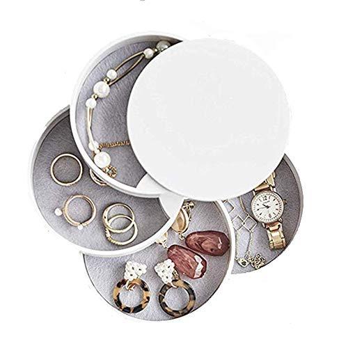 Runde Form Schmuckkästchen,Tower Kosmetik Organizer,Schmuckkästchen mit Deckel,Kleines Tragbar Schmuckkästchen,Schmuckkoffer (Weiß)