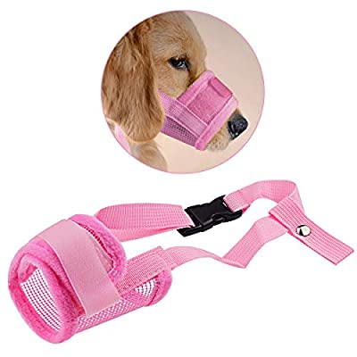 Zubita Dog Muzzle, Adjustable Breathable Dog Muzzle Anti-biting Anti-barking Anti-chewing Safety Protection for Small Medium Large Extra Dog S M L XL XXL (Pink) by Zubita