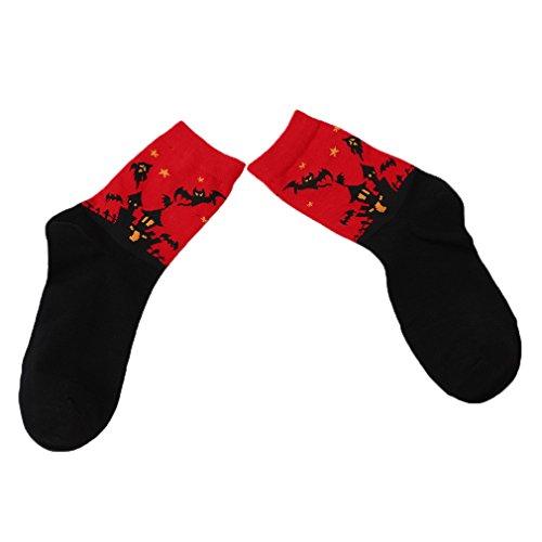 Lalang 1 Paar Halloween-Thema Baumwolle Socken Sport Strümpfe Füßlinge für Damen und Herren (Rot) (Halloween-socken)
