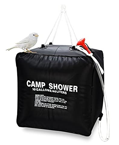 Zoeson 10Gallon/40 Litter Camping Hiking Light Weight Solar Heated Camp Shower Bag with On/ Off Nozzle (Easy to open package)