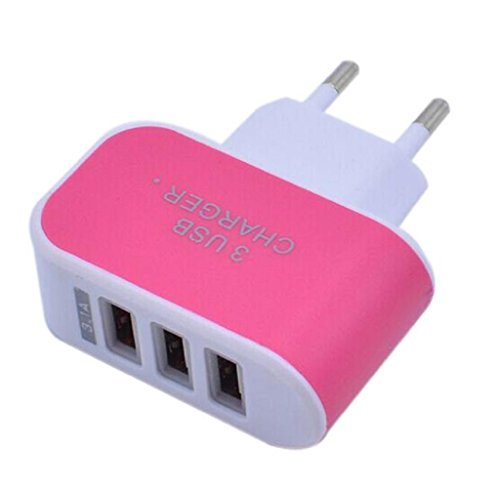 HARRYSTORE 3.1A Triple USB Port Wall Home Reise AC Ladegerät Adapter für EU Plug (Hot Pink) - Port Hot Plug
