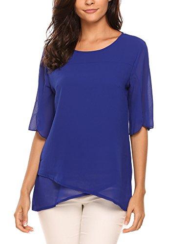 Beyove Damen Somme Chiffon Shirt Lose Fit T-Shirt Oberteile Asymmetrie Tops mit Punkten (Spandex T-shirt-shorts)