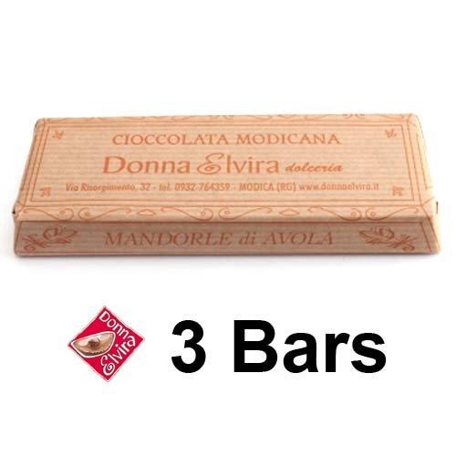 NATIVE MODICA DARK CHOCOLATE WITH AVOLA ALMONDS by Donna Elvira 3 BARS x 70g (Stone Ground Cold Processed) – Dairy free Deli – Italian Artisan Gourmet Food