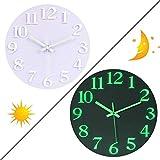 Searchyou - Horloge Murale Lumineuse, 30CM Fluorescente Ronde Bois Silencieuse Pendule Murale Décoratives pour Cuisine, Salon, Bureau, Chambre Enfant - Blanc