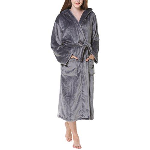 Zhhlinyuan Unisex Supersoft Luxury Morgenmäntel, Herren und Damen Plus Size Fleece Flannel Hooded Shawl Collar Long Robe Bademäntel Housecoat für Adults Shower Spa Hotel (Robe Fleece Belted)