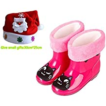 Stillshine - Niños Niñas Botas de nieve de lluvia Zapatos de goma de dibujos animados para niños Impermeable Antideslizante Tacones bajos Botas de lluvia con forro cepillado extraíble para niños (26, Rosa roja)