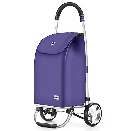 Aluminiumlegierungs-kaufender Nahrungsmittellaufkatze-Faltbarer Einkaufslaufkoffer-tragbarer Zweirad Kleiner Wagen 91 × 34 × 32cm GW (Farbe : Lila)