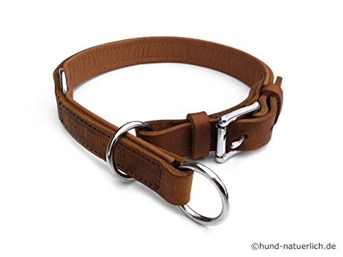 hund-natuerlich Zugstopp Lederhalsband für Hunde Hellbraun Cognac gefüttert Chrom, Leder Hundehalsband (45 (Halsumfang 38cm - 41cm))