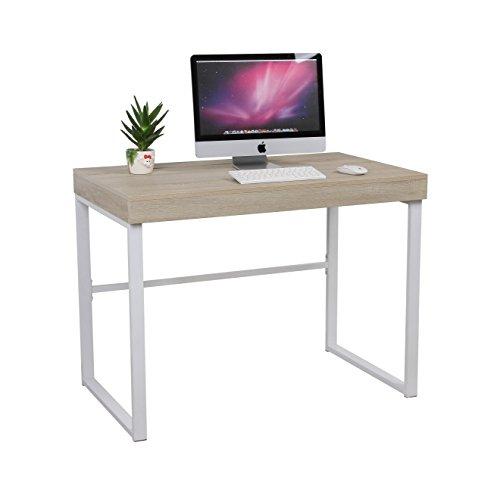 Eurosilla Mit - Mesa de estudio con tapa corredera, 76 x 60 x 100 cm. Color marrón madera y patas metálicas blancas