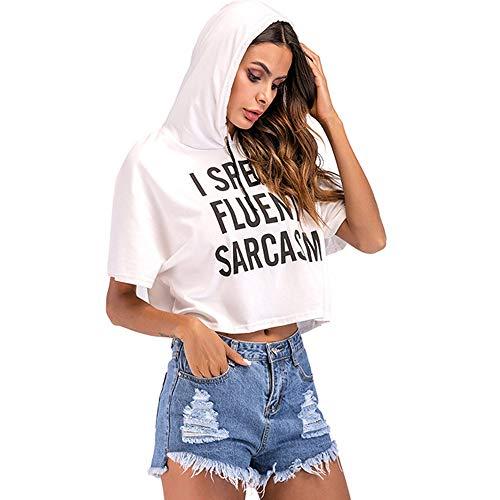 Honestyi Damenmode Brief drucken Kordelzug rosa Kurzarm mit Kapuze lässig Bauchfreies Oberteil Frauen Sommer T-Shirt Sexy Cap Sweatshirt (I Speak Fluent Sarcasm)(Weiß,XL) -