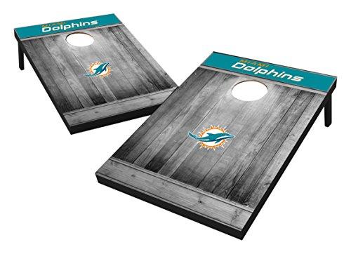 Wild Sports Kornloch-Set aus MDF-Holz, 90 x 90 cm, Grau, Miami Dolphins Tailgate Toss - Gray Wood Design, Team Color, 2'x3'