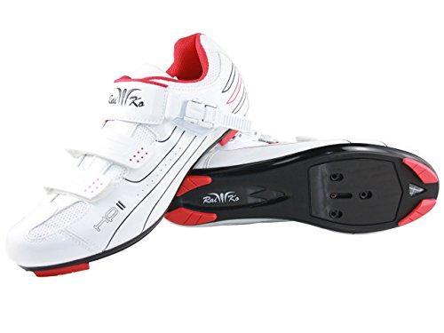 Raiko Sportswear HP2 Fahrradschuhe SPD-SL/Look Rennrad Ratschen-/Klettverschluss weiß Größe 38
