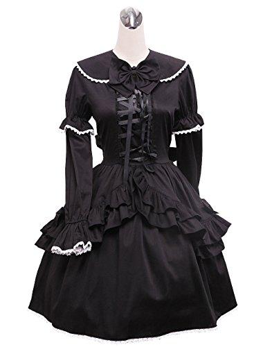 wolle Flieges Rüsche Spitze Gothic Niedlich Schüler Knielang Elegant Lolita Cosplay Kleid,XL (Puppe Halloween-kostüme Niedlich)