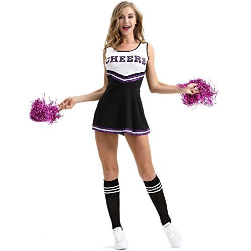 Cicilin Femme Déguisement Pompon Girl Déguisement de Pom-Pom Girl Robe Uniforme avec Pompons Cosplay Costume de High School Musical Debardeur Jupe Halloween Noir Taille FR 36 (Asie XS)