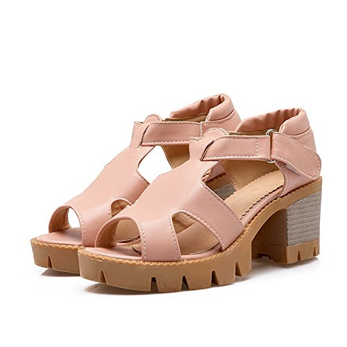 Odomolor Damen Weiches Material Mittler Absatz Fischkopf Schuhe Sandalen Pink