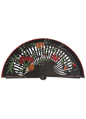 Abanico de Madera Pintado a Mano Calado Flores Silvestres Color Negro