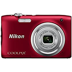 Nikon Coolpix A100 Point and Shoot Digital Camera (Red) with Card and Camera Case
