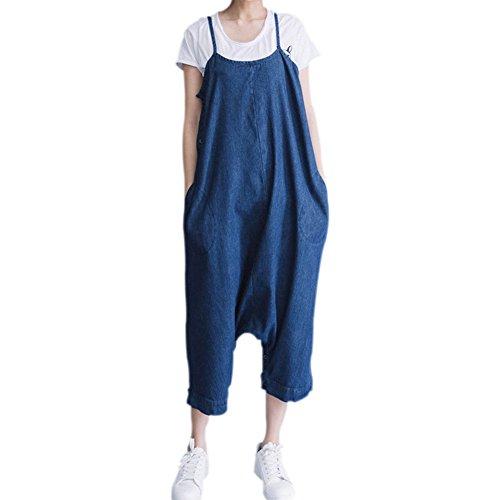 Deylaying Ajustable Mujer Casual Suelto Babero Jeans Azul Maternidad El embarazo Mezclilla Mono