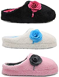 Ladies Amy Luxury Bow Flower Mule Slippers Black