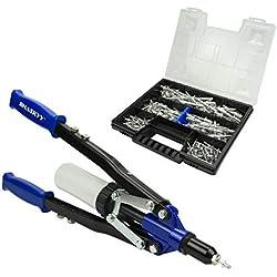 Haskyy Riveteuse Pince à rivets aveugles et rivets Pop Pince à levier 3,2–6,4mm avec 150rivets en aluminium dans une mallette