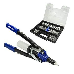 Pistola de remache Remachadora 3,2 – 4,0 – 4,8 – 6,0 – 6,4 mm mm incluye 150 remaches de aluminio en caja organizadora/maletín