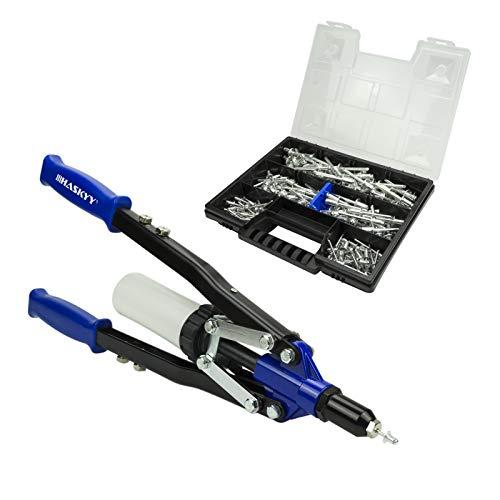 Nietpistole Nietmaschine 3,2 - 4,0 - 4,8 - 6,0 - 6,4 mm mm enthält 150 Aluminiumnieten in der Organizerbox / Aktentasche