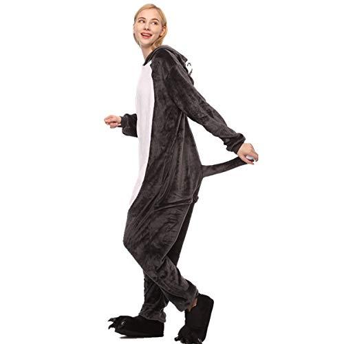Fancyland Stitch Kostüm,Jumpsuit Tier Cartoon Fasching Halloween Kostüm-Anzug Onesie Fleece-Overall Pyjama (Wolf Lady Kostüm)
