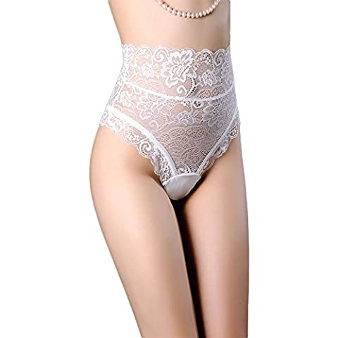 HuntGold Women's Hollow Out Thongs Lace G-string Sexy Panties High Waist Bandage Underwear Briefs(White,