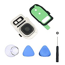 Cemobile Back Camera Glass Lens Cover + Rear Camera Bezel With Adhesive + Flash Cover Pre-installed Replacement Parts + Repair Tool Kit For Samsung Galaxy S7s7 Edge (Silver)