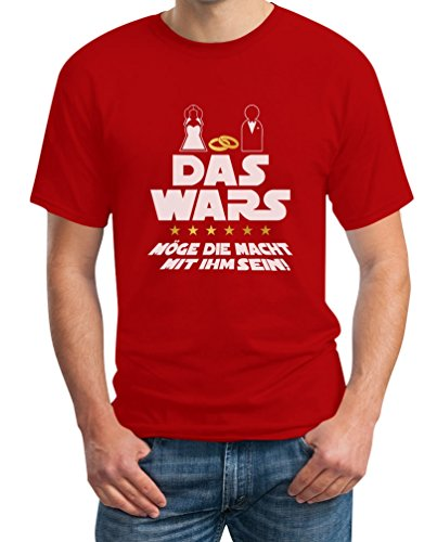 Junggesellenabschied T-Shirt JGA Bachelor Party Outfit - Das Wars Möge Die Macht Mit Ihm Sein T-Shirt X-Large Rot