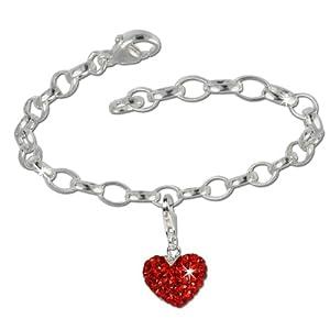 SilberDream Charms Kette Set – Liebe rot – Swarovski Kristalle 925 Sterling Silber Charm Armband – FCA130