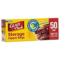 Glad Storage Zipper Bags - 1 Quart - 50 Count