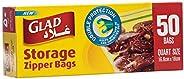 Glad® Zipper Food Storage Plastic Bags - Quart - 50 Count