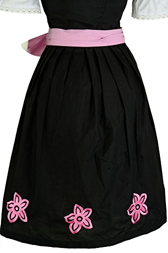 Dirndloutlet Ensemble tenue traditionnelle allemande (Dirndl) 3pièces Avec chemisier et tablier Motif: sarments Rose Noir - Noir/rose