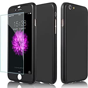 Aart New Style ultra thin 360 Degree full protection + Tempered Glass For Apple 4.7 Inch for I Phone 6/6S- Black