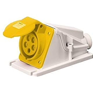 Gewiss GW62474 Low Voltage Screw Wiring 90 Degree Angled Surface-Mounting Socket-Outlet, IP44, 4 Reference, 2P+E Pole, 100V-130V, 16 A, 50 Hz/60 Hz, Yellow