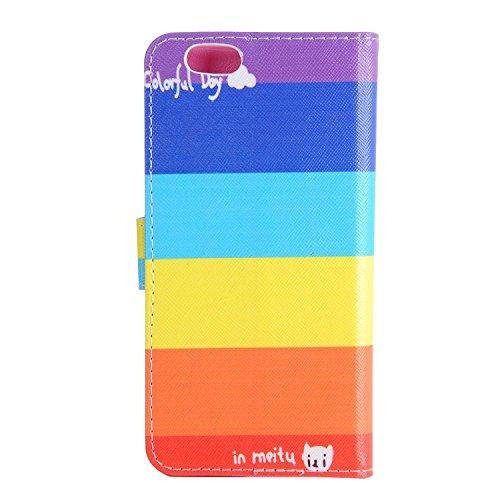 """MOONCASE iPhone 6S Plus Coque, Colorful Pattern Portefeuille Housse en Cuir Etui à rabat pour iPhone 6 Plus / 6S Plus 5.5"""" BBookstyle Porte-cartes [Antidérapant] TPU Case avec Béquille -ST08 ST06"""
