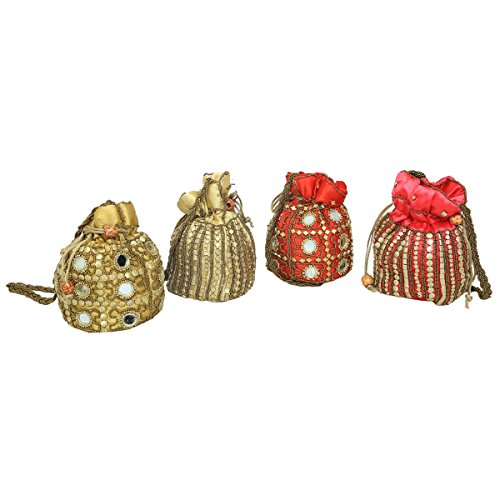 Kuber Industries™ Ethnic Mirror Work Rajasthani Potli Bag / Clutch / Bridal Clutch ( Set of 4 ) - BG47  available at amazon for Rs.899