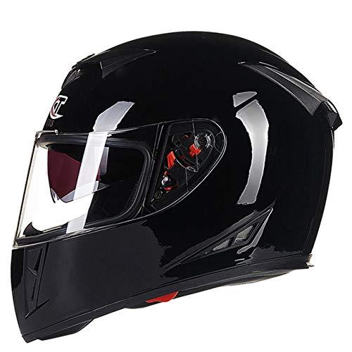 elegantstunning Men Flip -up Dual Lenses Full -Face Motorcycle Helm Antifogging Motorrad Riding Helm Bright Black L (Motorrad Face Full Black Helm)