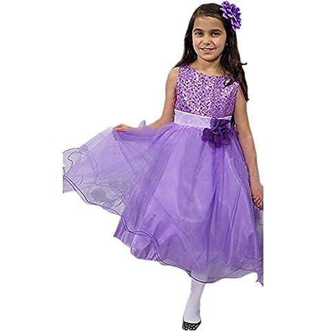 EARS - Kleinkind Baby Mädchen Bling Sequins Sleeveless Tutu Prinzessin Kleid (130, Lila)