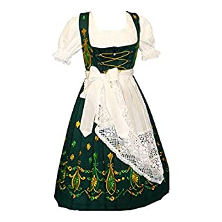 Dirndl Trachten Haus Women's 3-Piece Long German Dress 34 Green