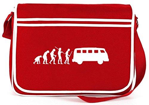 Shirtstreet24, EVOLUTION KULT BUS, Retro Messenger Bag Kuriertasche Umhängetasche Rot