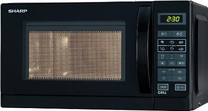 Sharp R-642BKW Mikrowelle / 20 L / Schwarz / 800 W / Digitale Steuerung / Zeitschaltautomatik / Kindersicherung