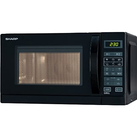 Sharp R642BKW - Microondas grill, 20 l, control táctil, 800 W, color negro