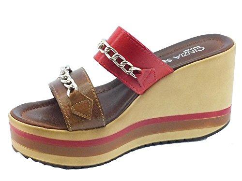 Sandali Cinzia Soft in pelle cuoio e rosso zeppa alta cuoio/rosso